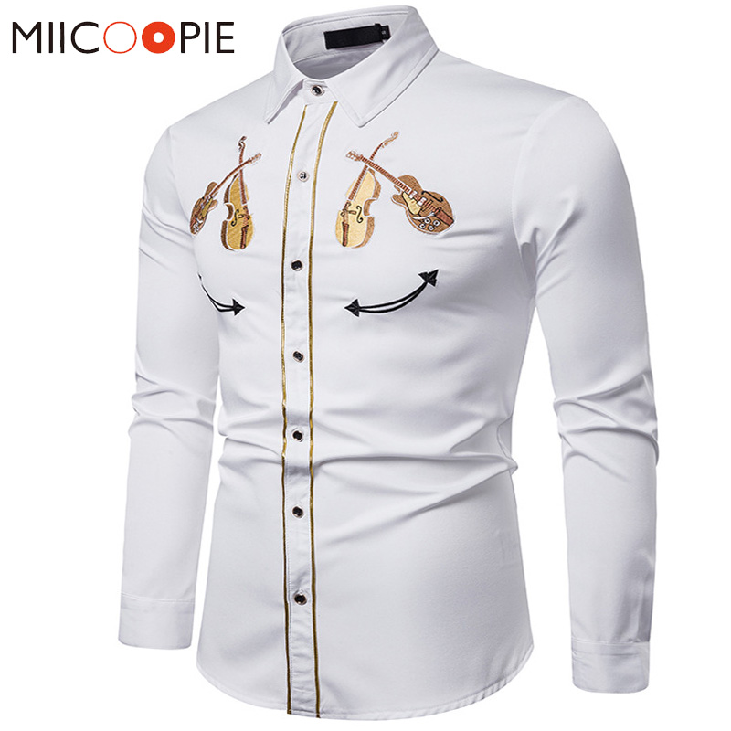 Embroidery White Shirt 2019 Luxury Western Cowboy Violin Pattern Long Sleeve Social Dress Mens Shirts Casual Slim Fit Streetwear