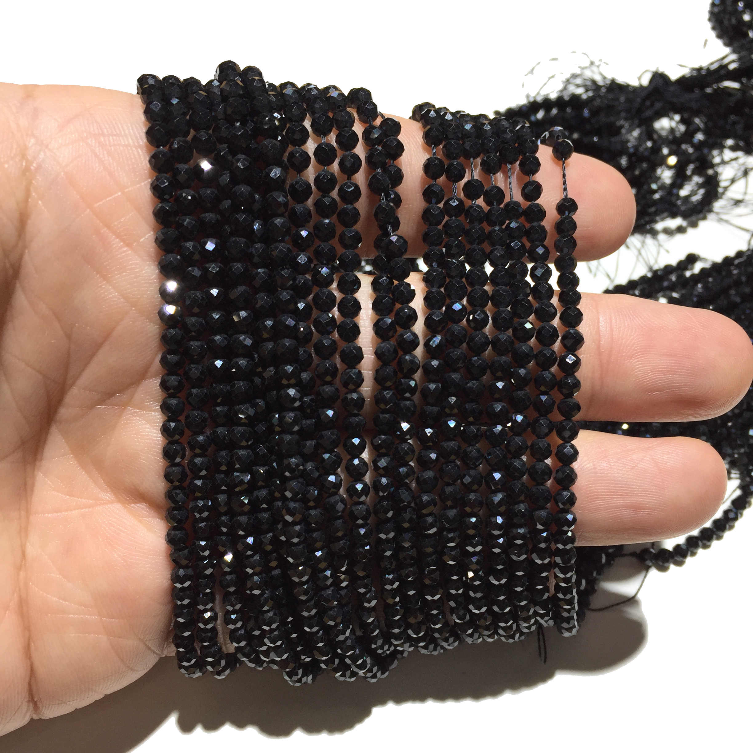 Natural Black Spinel Faceted tiny beads 2 mm   sparkling black gemstone beads  Choose 10 beads or a strand