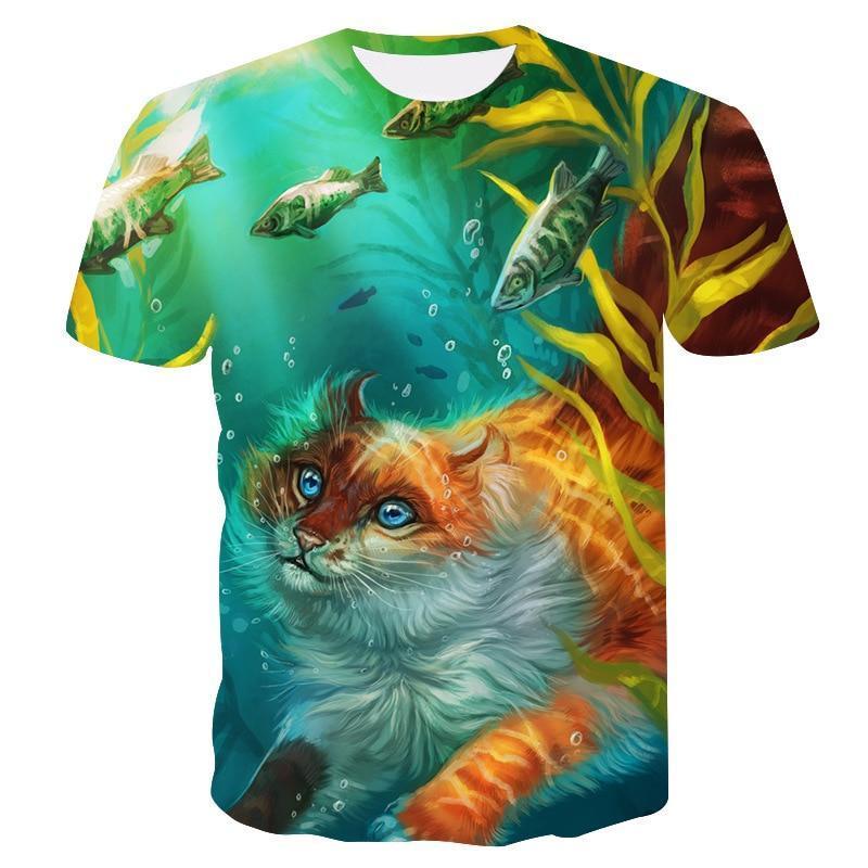 Novo 3dt camisa abstrata cor raposa design manga curta camiseta amantes rua moda camiseta vero masculino/feminino topo