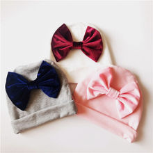 Organic Cotton Baby Bow Hat beanie with bow Newborn Hospital Infant Shower Gift photo prop H265D