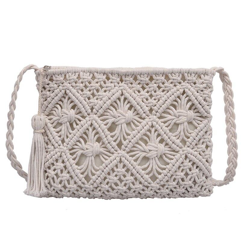 2 шт. женская сумка на одно плечо, универсальная летняя сумка, тканые сумки на крючках из бумаги, Бамбуковая пляжная сумка с кисточками, цвета...