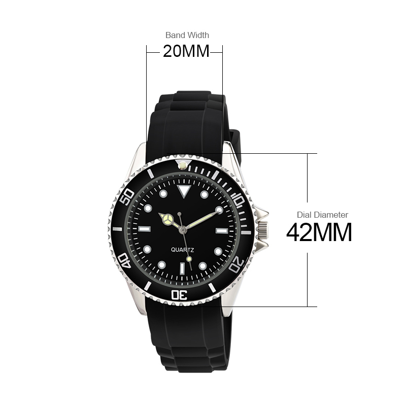 Men Watches Classic Analog WristWatch Geneva Silicone Rubber Strap Spinning Bezel Waterproof Clock Male Relogio Masculino