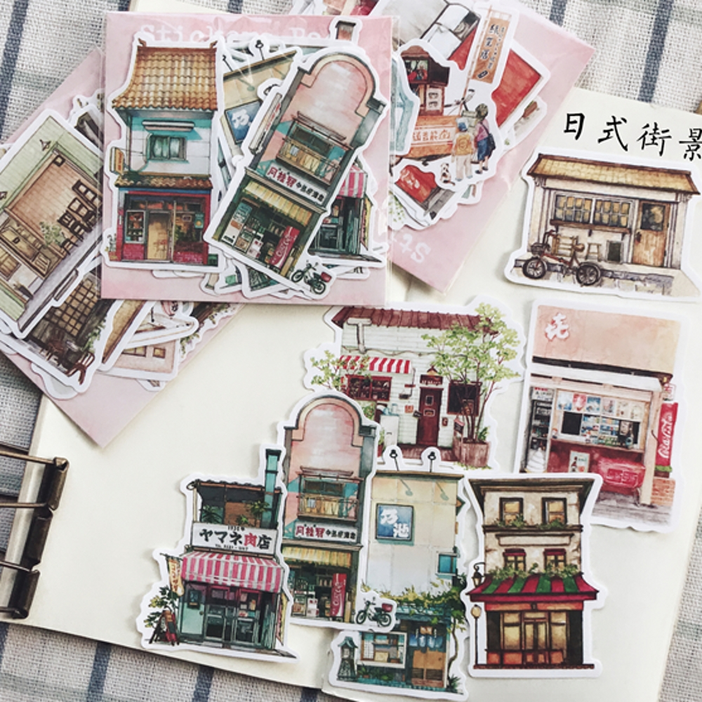 15Pcs/Set Vintage Japanese Street Store Building Sticker DIY Craft Scrapbooking Album Junk Journal Planner Decorative Stickers