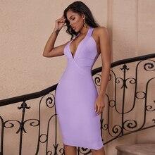 צבי גברת 2019 נשים Bodycon תחבושת שמלת ערב קיץ V צוואר הלטר תחבושת שמלה סקסי סגול ללא משענת המפלגה שמלת Vestidos