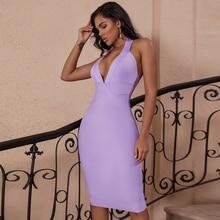 Deer Lady 2019 Women Bodycon Bandage Dress Evening Summer V Neck Halter Bandage Dress Sexy Purple Backless Party Dress Vestidos