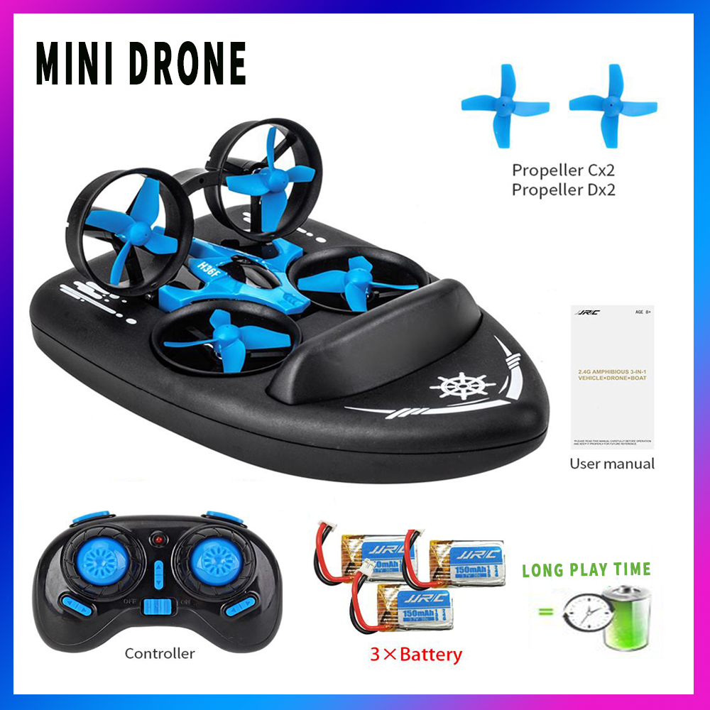 3in1 Mini Racing Drone Ufo Helicopter Fun Durable Headless Mode Pop Toys For Children Quadcopter RC Boat / Vehicle / Hovercraft