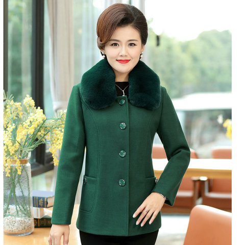 Winter Women Wool Blend Pea Coats Green Purple Red Thick Warm Fur Turn Down Collar Tweed Jacket Mature Women Elegant Peacoat 4XL Pakistan