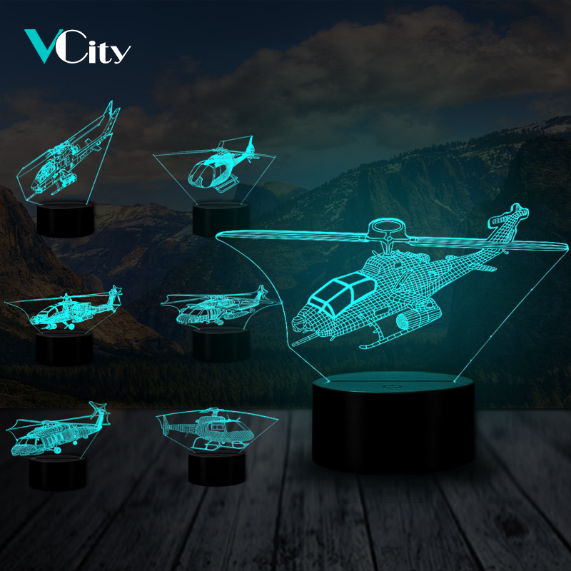 VCity Helicopter Series 3D USB Table Lamp Fixture Air Plane Nightlight Gift For Kids Boys Home Bedroom Decor Atmosphere Lighting