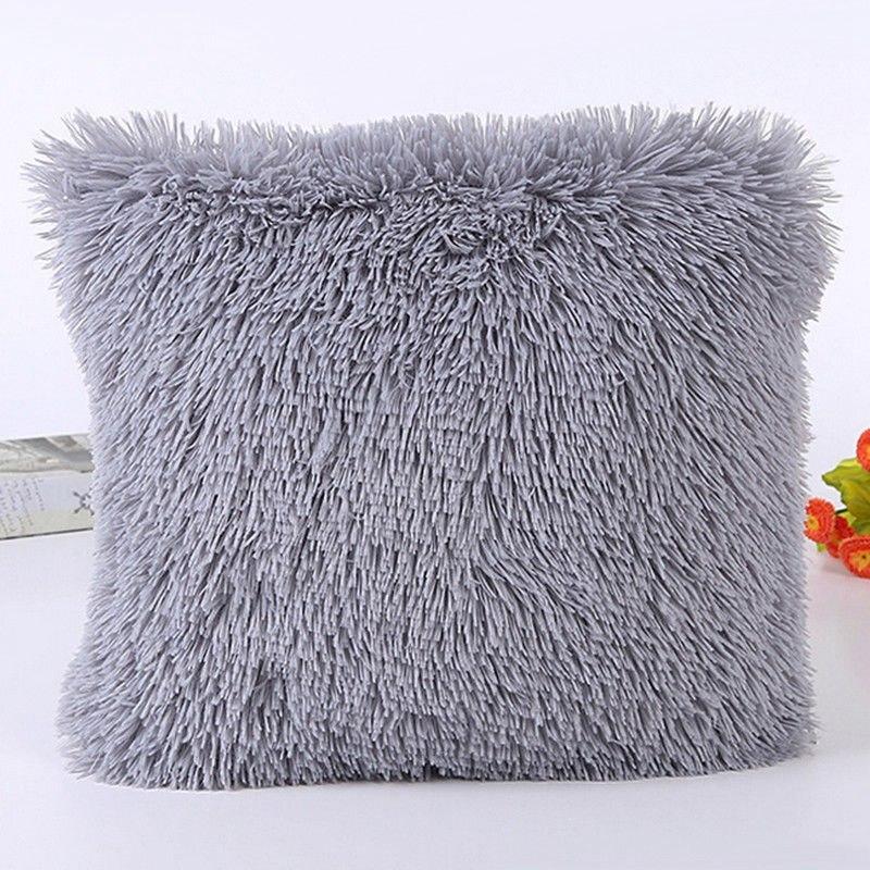 Fluffy Soft Plush Square Pillow Cushion Case Room Sofa Waist Throw Cushion Cover