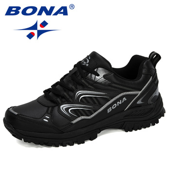 BONA 2020 New Designers Hiking Shoes Male Mountain Climbing Trekking Shoes Man Cow Split Sport Walking Shoes Men Trendy Sneakers