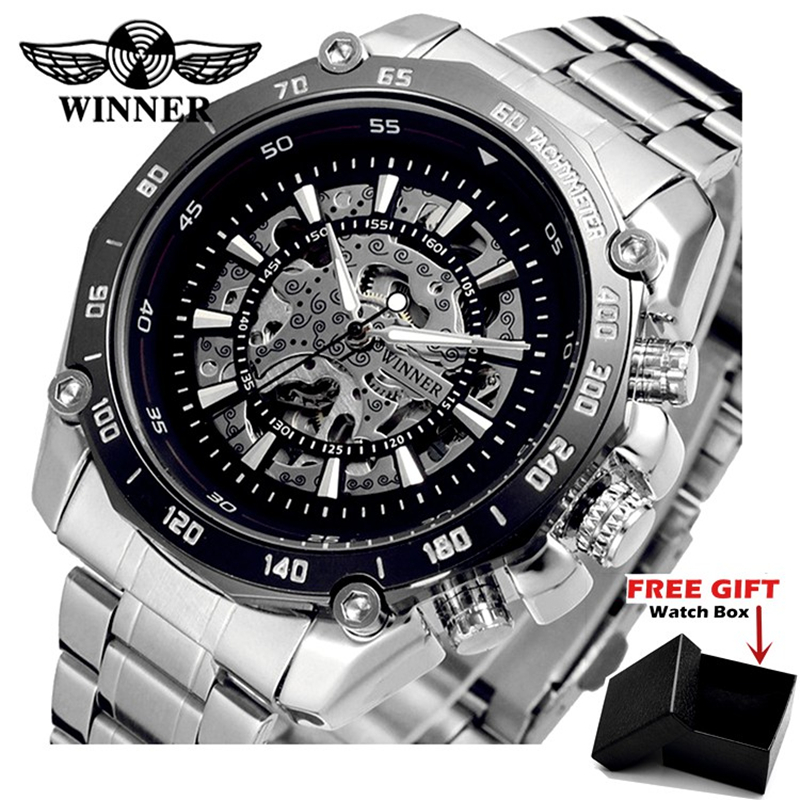 WINNER Men Brand Military Skeleton Stainless Steel Luxury Silver Automatic Mechanical Watch