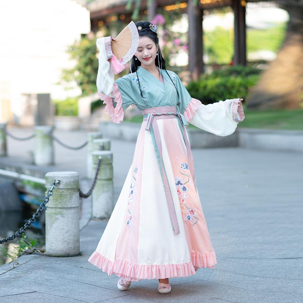 Chinesischen Stil Wei Jin Retro Kostüm Frauen Hanfu Anzug CosplayRed Fairy Dress