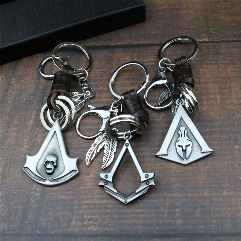 Odyssey Key Assassin's Creed Ring Buckle Leather Rope Waist Buckle Car Creed Pendant Metal Pendant Men And Women Gift|Key Case for Car| |  - title=
