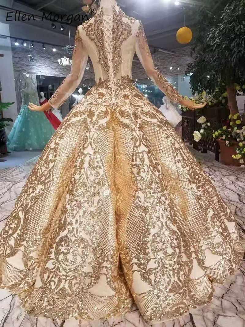 Винтажное арабское Золотое свадебное платье, бальные платья, роскошные 2019, длинные рукава, бисероплетение, кружево, длина до пола, веселые свадебные платья