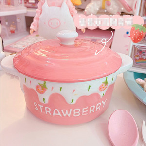 4-дюймовая милая розовая бинауральная эмалированная фарфоровая миска для детей, фруктовый салат, десерт, рисовые миски для завтрака с крышк...
