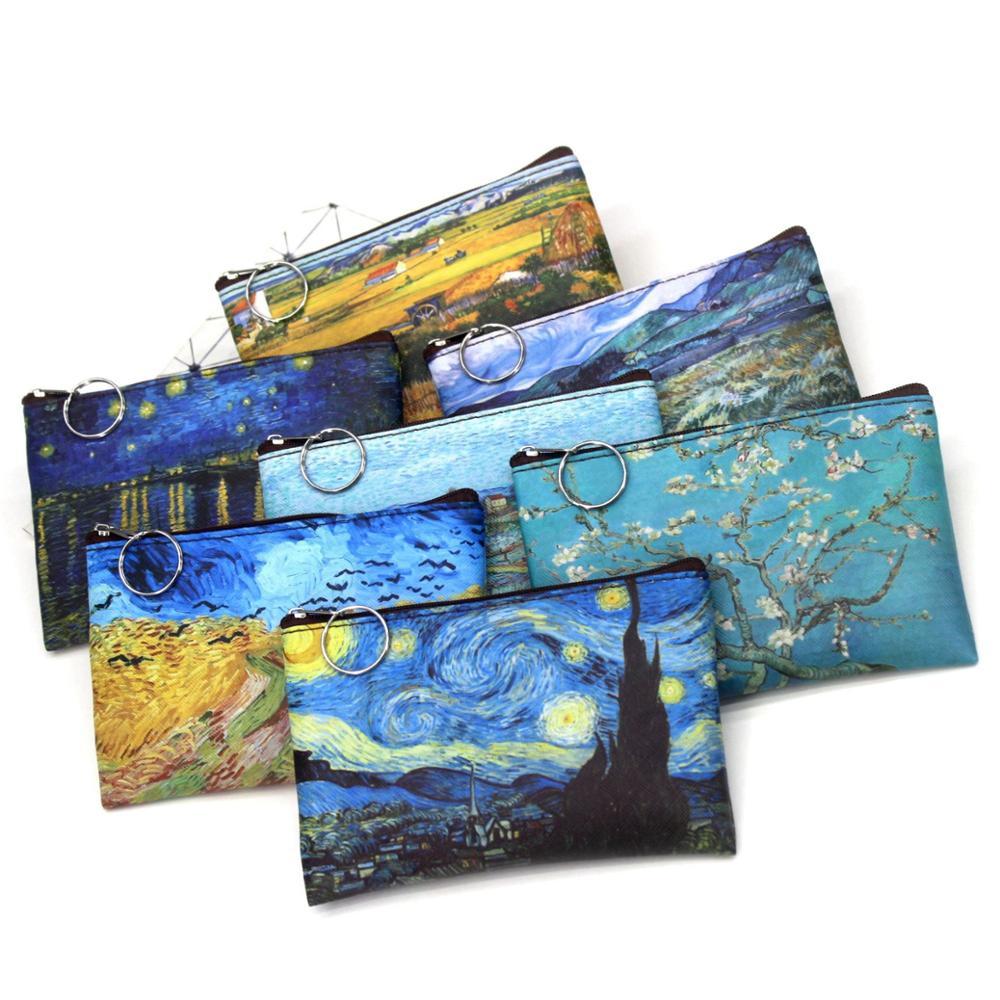 Creative Classic Print Pu Coin Purse Landscape Oil Painting Vintage Purse Lady Small Square Wallet Mini Bag