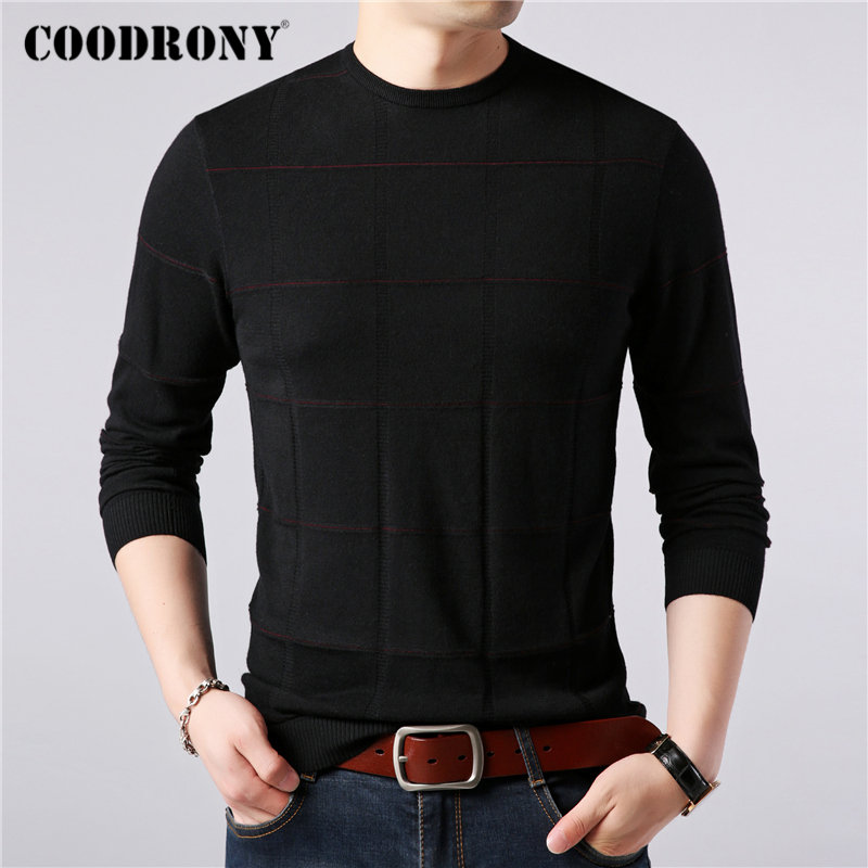 COODRONY Brand Sweater Men O-Neck Pull Homme Knitwear Embroidery Cotton Wool Pullover Men Autumn Winter Soft Warm Sweaters 91086
