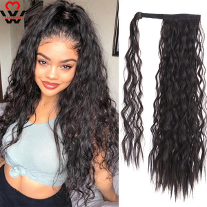 MANWEI Corn Wavy Long Ponytail Synthetic Hairpiece Wrap on Clip Hair Extensions Ombre Brown Pony Tail Blonde Fack Hair(China)