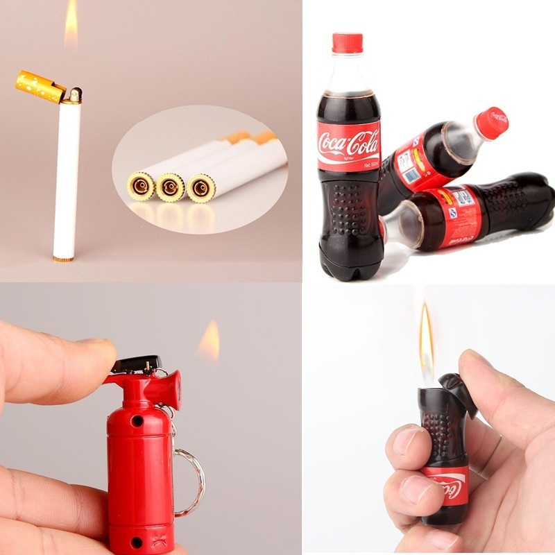 Creative Refillable Butane Gas Cigarette Lighters Coke Bottle/Cigarette/Extinguisher Shape Novelty Lighter Smoking Accessories