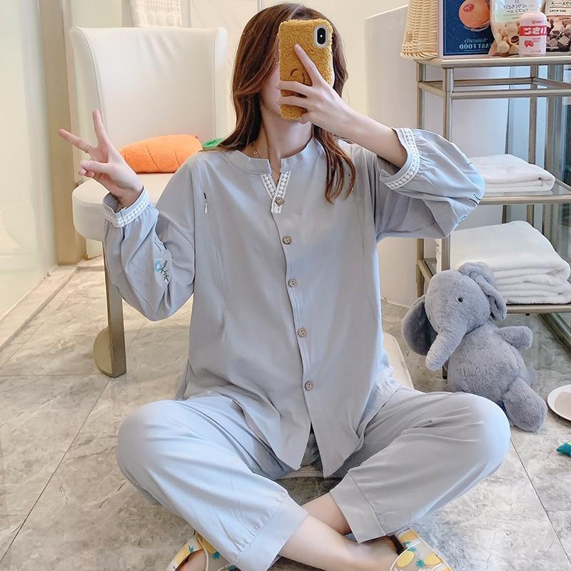 Cotton Maternity Nursing Pajamas Suits Spring Autumn Breast Feeding Lounge Clothes for Pregnant Women Pregnancy Sleepwear Sets