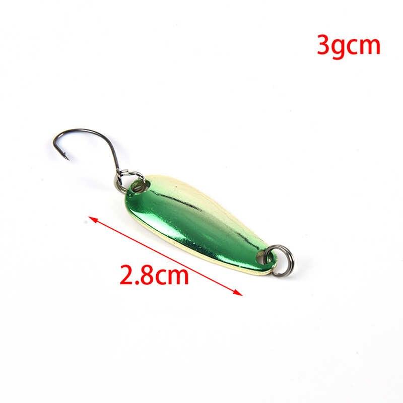 1 adet metalik pullu kaşık şekli balıkçılık pullu yem tek kanca Spinner yemler sert yemler bas Pike olta takımı 6 renkler