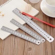 Règle droite en acier inoxydable 15cm/20cm/30cm, outil de mesure à Double face, fourniture de dessin pour l'école et le bureau