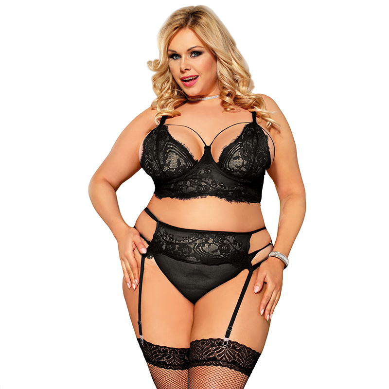 RW80804 Plus Size Black Lace Open Bust Bra And Garter Panty Set With Steel Ring Bra Brief Sets Lingerie Set Underwear For Women