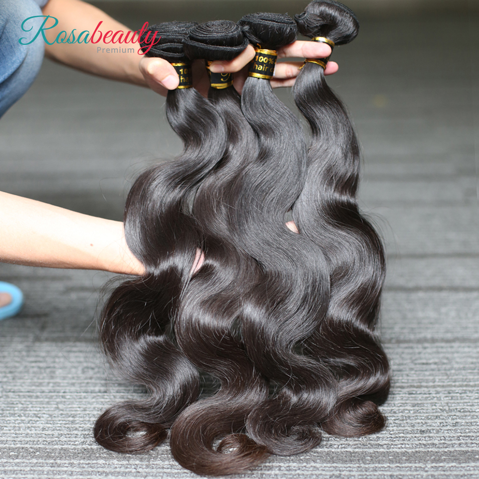 [Rosabeauty] OneCut Hair Body Wave 8-28 30 32inch H Brazilian Raw Virgin Unprocessed Hair Natural Color 100% Human Hair Weaving 4 Bundles Deal