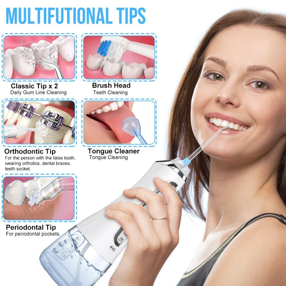 5 Mode Portable Oral Irrigator 300ml Dental Water Flosser Jet USB Rechargeable Water Floss Irrigator Dental Teeth Cleaner+5 Tips