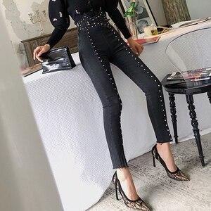 Image 2 - TWOTWINSTYLE 가을 패치 워크 구슬 여성 청바지 하이 웨이스트 슬림 데님 발목 길이 바지 여성 2020 Streetwear Fashion New