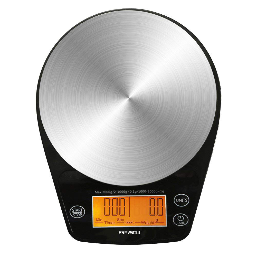 Báscula Digital de café de 0,5/3KG, temporizador con pantalla LED, de acero inoxidable, herramienta de cocina para hornear