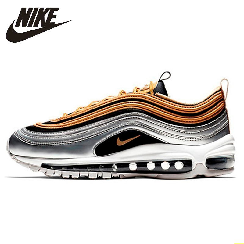 US $54.81 71% OFF|Nike Air Max 97 OG QS New Arrival Men's Breatheable Running Shoes Tamping Gold And Silver Bullet Sneakers #884421 001700 in Running