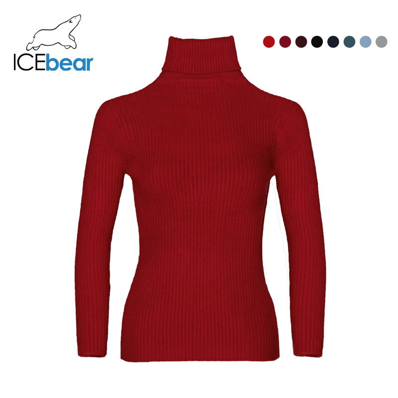 ICEbear Women Solid Knitted Sweaters And Pullovers Autumn Winter Turtleneck Basic Pull Must Have Tops Womens Clothing NB-221