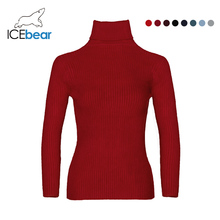 ICEbear Women Solid Knitted Sweaters And Pullovers Autumn Winter Turtleneck Basi