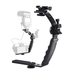 L Bracket Adjustable Dual Double Hot Shoe Bracket for Monitor Light Flash Microphone Action Camera DSLR DV Camcorders Accessory
