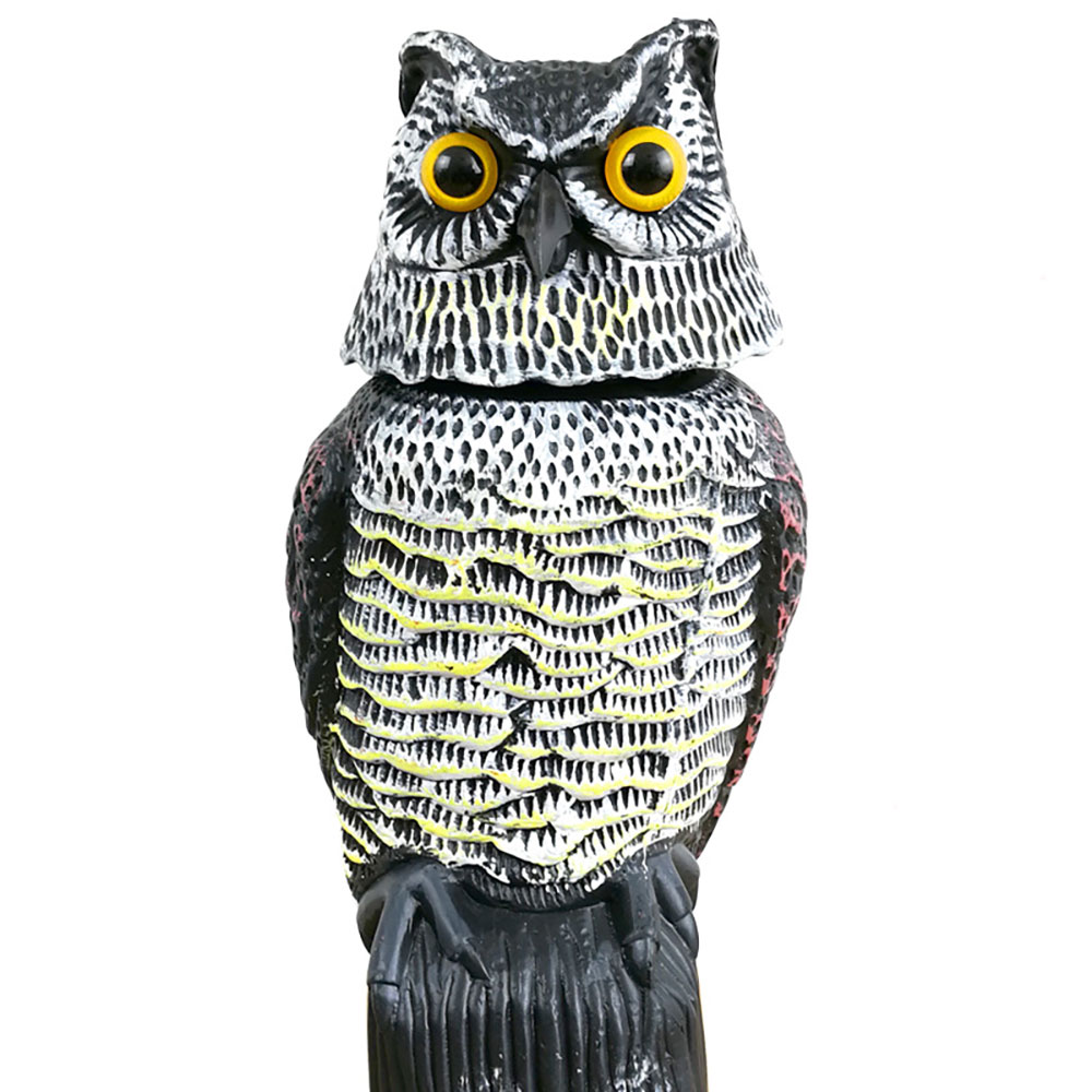Outdoor Hunting Realistic Bird Scarer Rotating Head Owl Decoy Protection Repellent Bird Pest Control Scarecrow Garden Yard