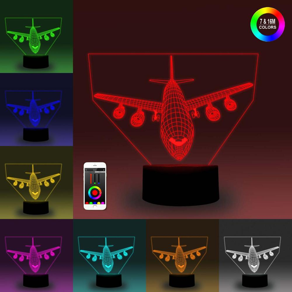 NiteApps 3D Plane with Aero-<font><b>engine</b></font> Night Light Desk Table Illusion Decoration Lamp Holiday Birthday Gift APP/Touch Control image