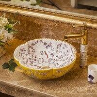 Ceramic Above Counter Basin Flower Shaped Bowl Washbasin Household Vessel Sink Art Wash Basin Round Bathroom Sink Bowls
