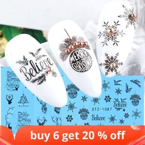 1pcs New Year Sliders Manicure Sticker Water Transfer Decals Set DIY Christmas Nail Art Decorations Foil Wraps NFSTZ1082-1097