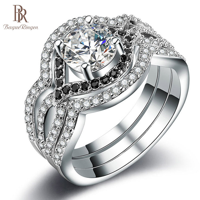 Finger-Rings Jewerly-Size 100%925-Sterling-Silver Cubic-Zircon Round-Shape AAA Forever
