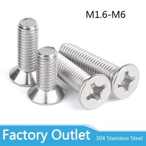 10/50 M2M2.5 M3 M3.5 M4 M5 M6 M8 A2-70 304 Stainless steel GB819 Cross Phillips Flat Countersunk Head Screw Bolts Length 3-100mm
