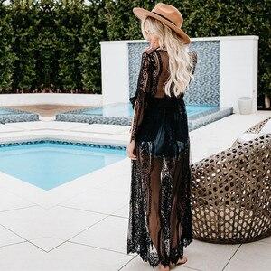 Image 5 - 해변을위한 튜닉 롱 레이스 비치 드레스 여성 수영 커버 플러스 사이즈 사이다 드 프라이 아 로브 드 플라지 카프 탄 비치 커버 # Q821