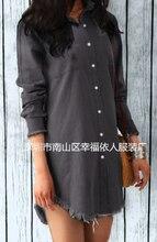 Женская рубашка однотонное платье с отложным воротником и длинным