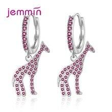 Women Fashion Punk Tiny Cute Giraffe Eardrop Crystal Drop Earrings 925 Sterling Silver Earings Simple Jewelry Female Brincos