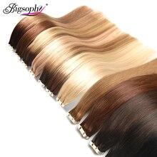 Лента в Пряди человеческих волос для наращивания на Клейкой Ленте имитирующей кожу прямые Волосы remy 20/40 шт. Двусторонняя накладные волосы блондики, 14, 16, 18, 20, 22, 24, 26 дюймов Bigsophy