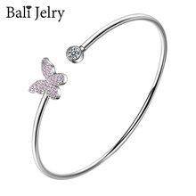 BaliJelry Trendy bransoletka ze srebra próby 925 biżuteria Zironc kamień kształt motyla bransoletki akcesoria dla kobiet ślub zaręczyny