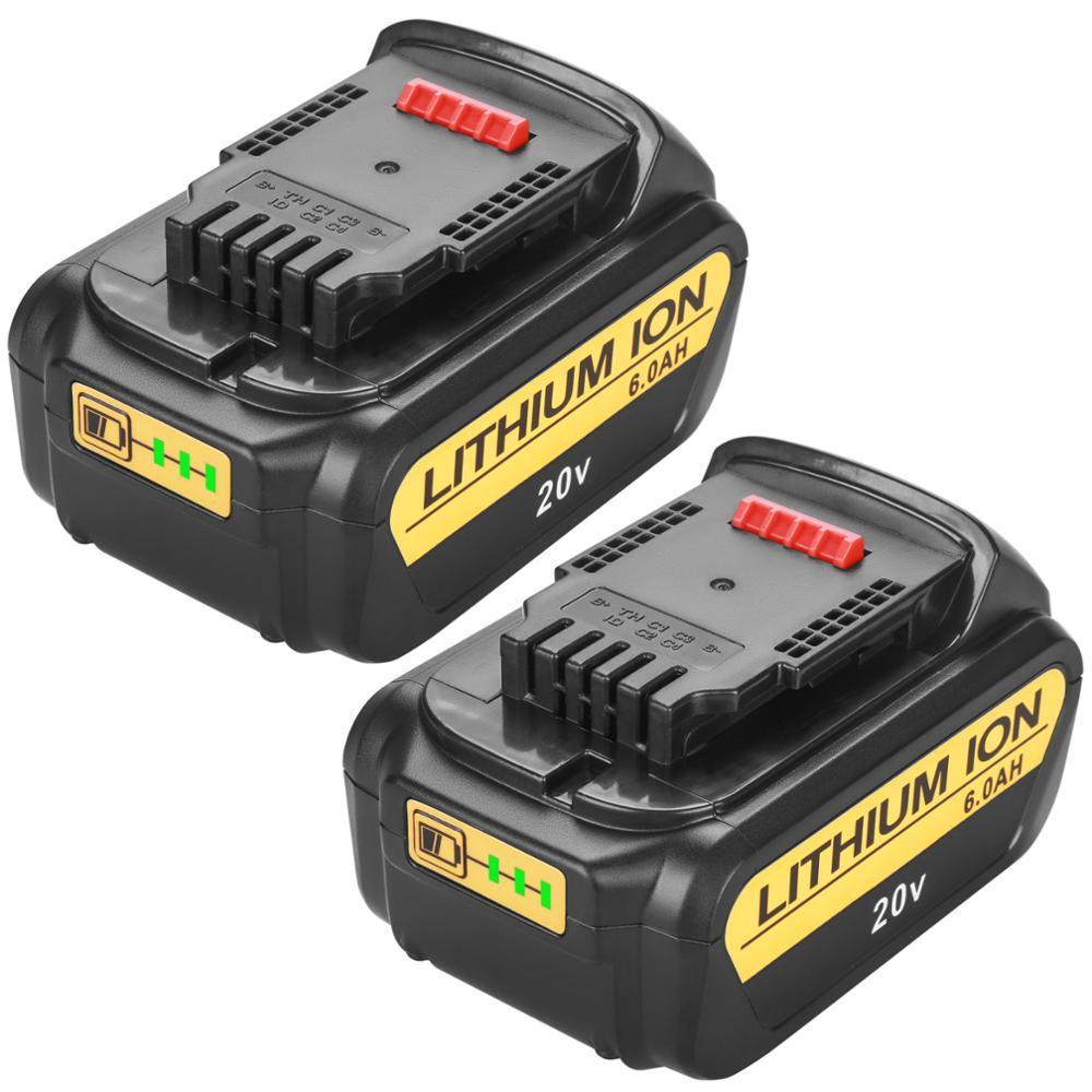 20 в 6000 мАч для DeWalt DCB200 MAX, Сменный аккумулятор для электроинструментов DCB181 DCB182 DCB204 DCB101 DCF885 DCF887