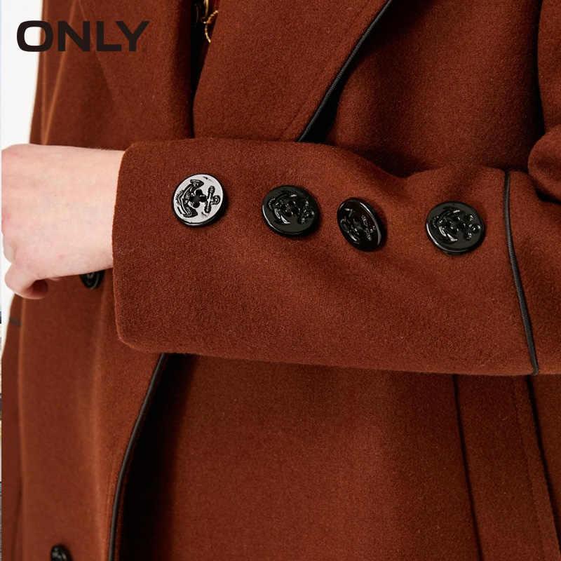 ONLY Vintage Women Autumn Winter straight long wool coat Jacket Overcoat| 11834S530