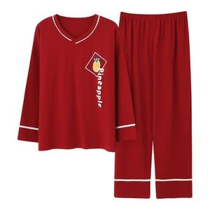 Image 2 - Plus Size 5XL Sleep Lounge Pajama Long Sleeve Top + Long Pant Woman Pajama Set Cartoon Print Pyjamas Cotton Sleepwear For Women