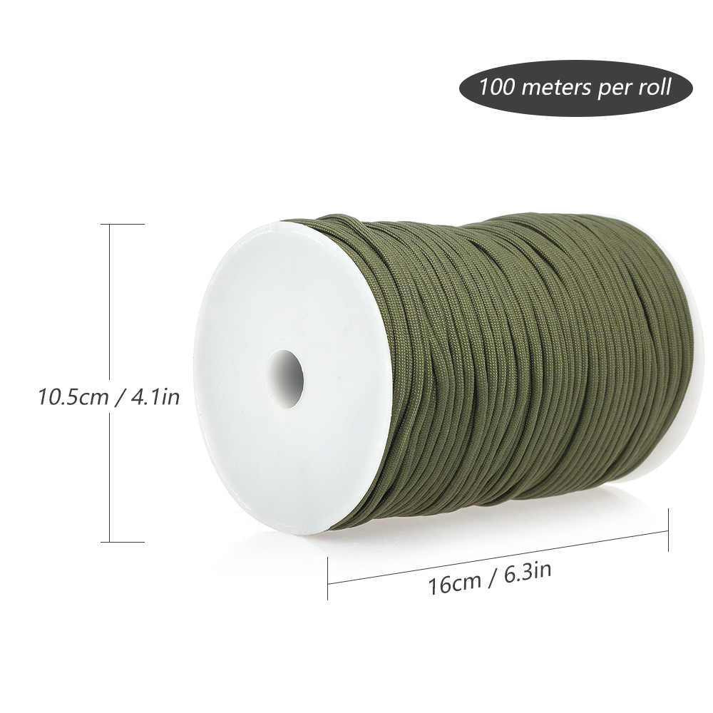 100M 550 Militaire Standaard 9-Core Paracord Touw 4 Mm Outdoor Parachute Koord Camping Survival Paraplu Tent Lanyard strap Bundel